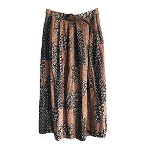 Vintage Boho-style Skirt with Belt